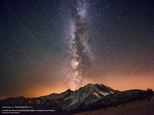 Milky Way Galaxy Exploding from Mount Rainier, David Morrow